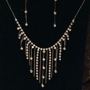 Modern rhinestone and chain necklace/earring set